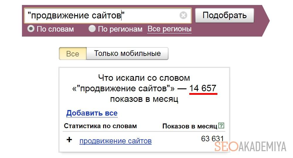 Символ кавычки при работе с Яндекс Вордстат