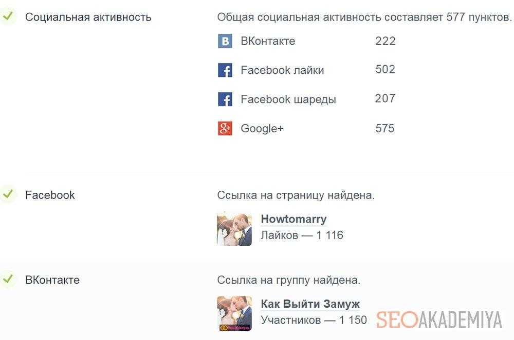 Отчет социальной активности сайта pr-cy