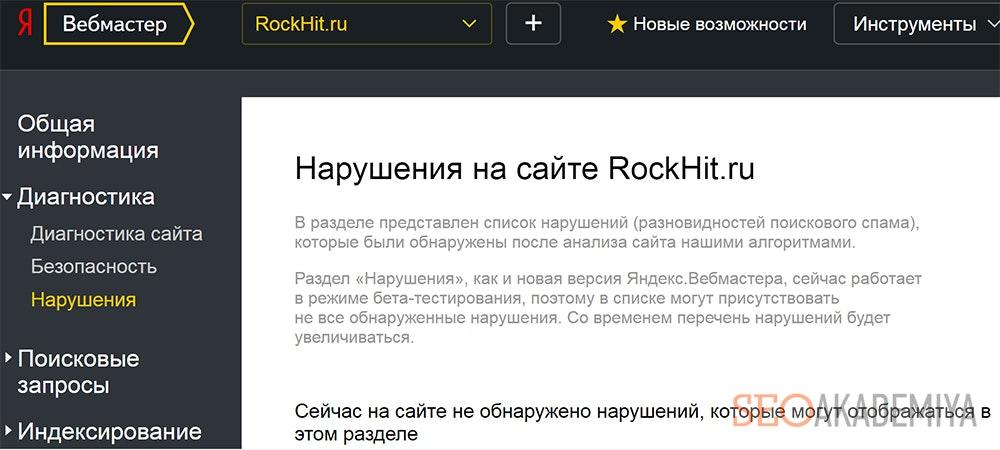 Нарушения на сайте - фото из Яндекс.Вебмастер