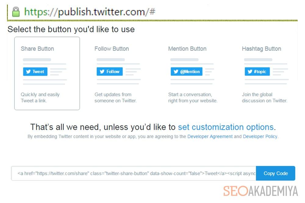 Установка кнопки выкладки твита от Twitter