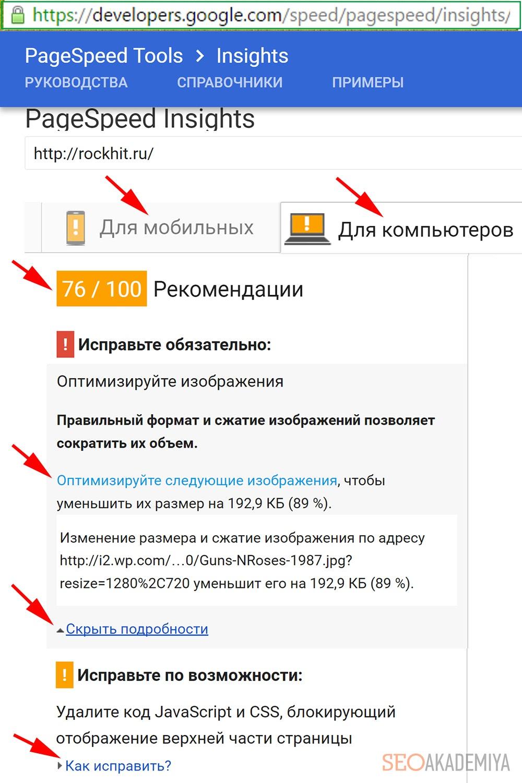 Проверка скорости на PageSpeed Insights