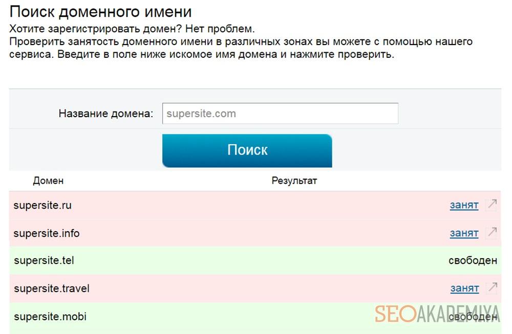 Подбор домена на 2ip.ru