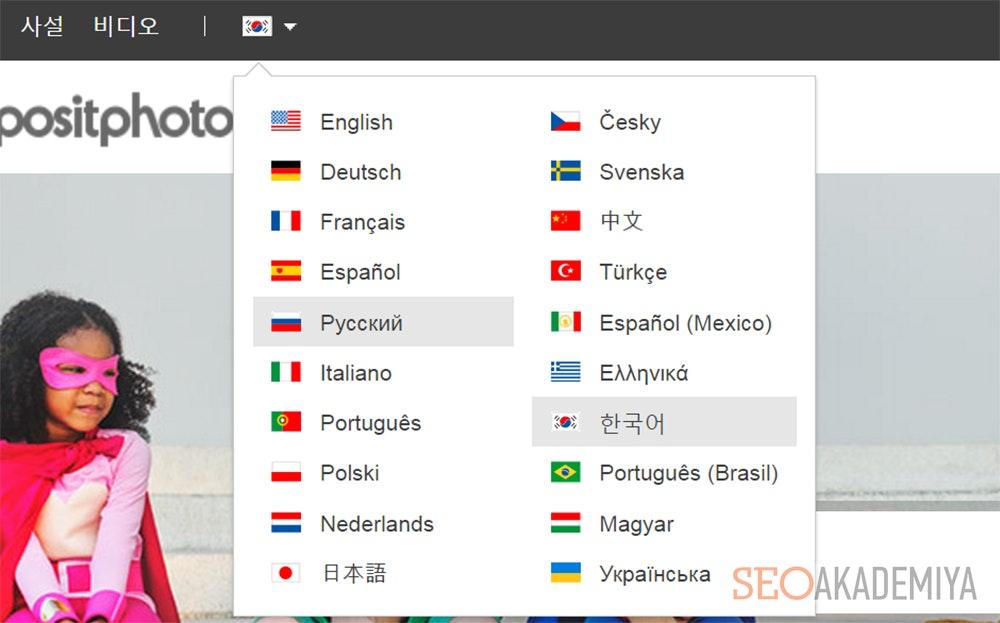 Кнопки выбора языковой версии на сайте