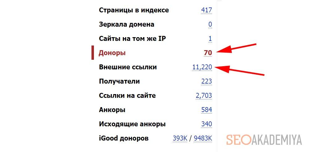 Отчет из Linkpad свидетельствующий о сквозных ссылках