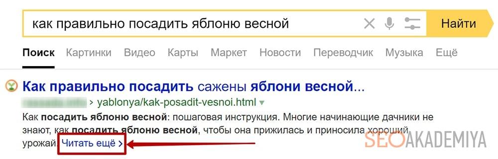 Сниппет Яндекса читать еще