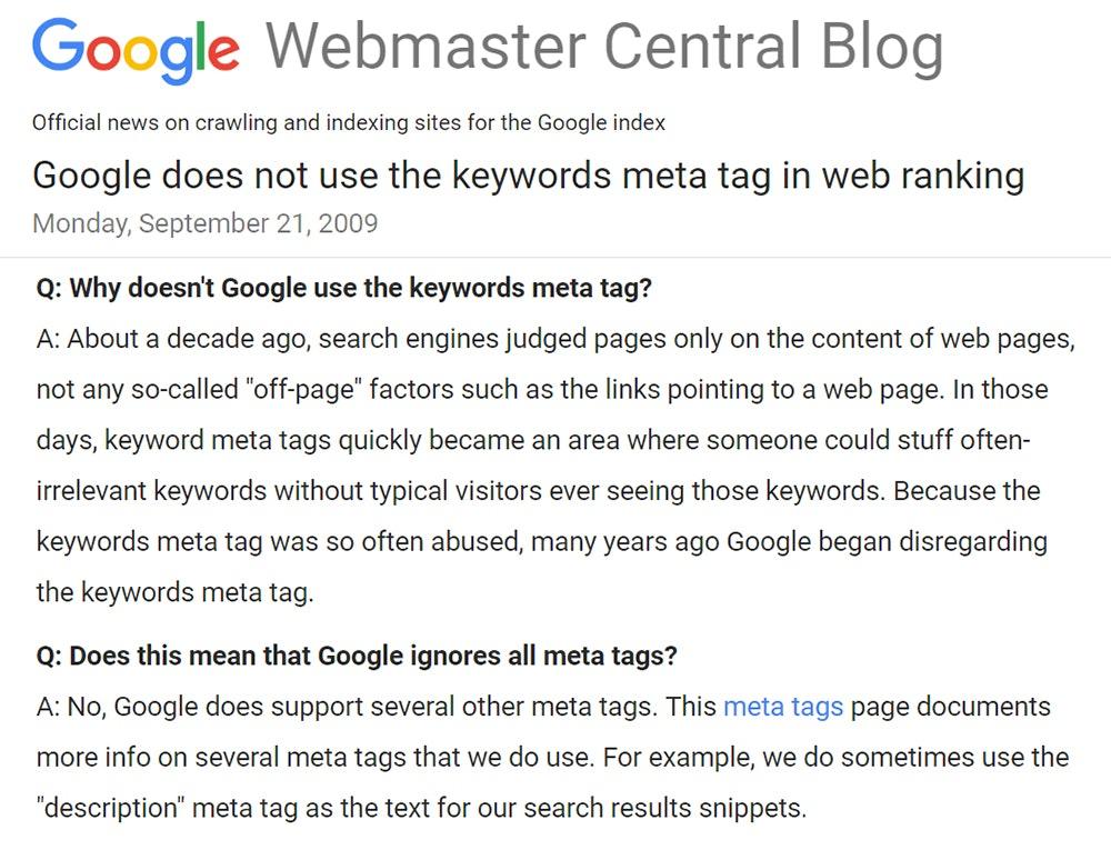 Заявление ПС Google о мета-таге keywords