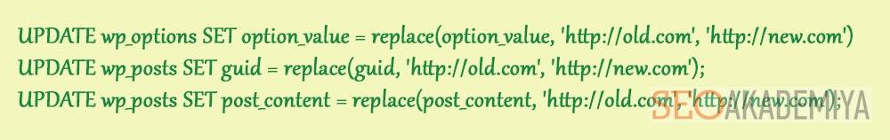 Код для замены старых адресов phpmyadmin
