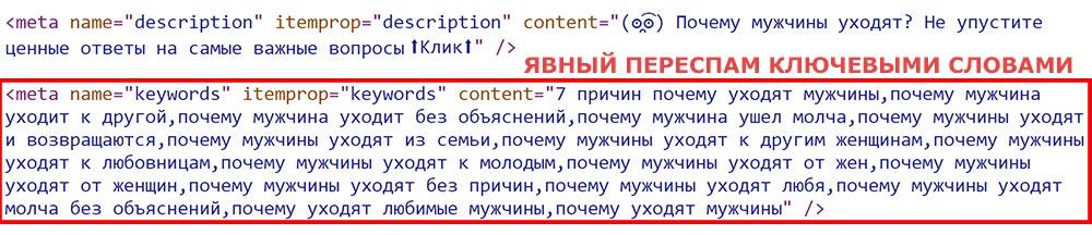 Пример переспама мета-тега keywords