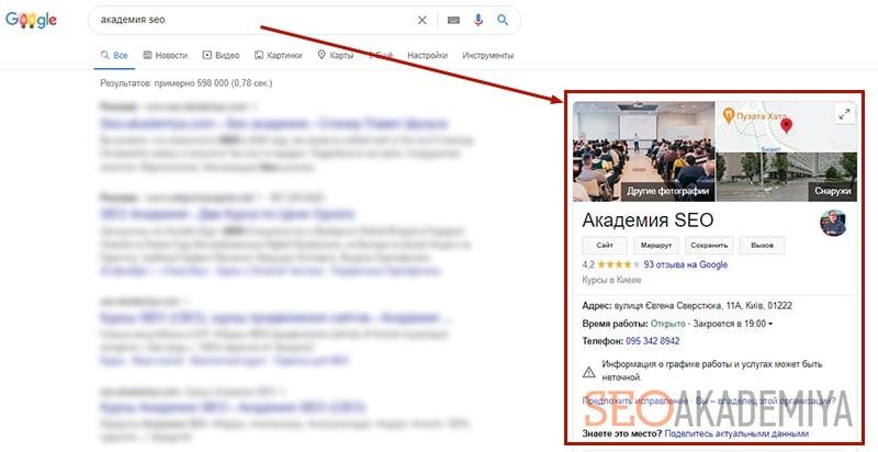 Блок знаний с картой из google my business