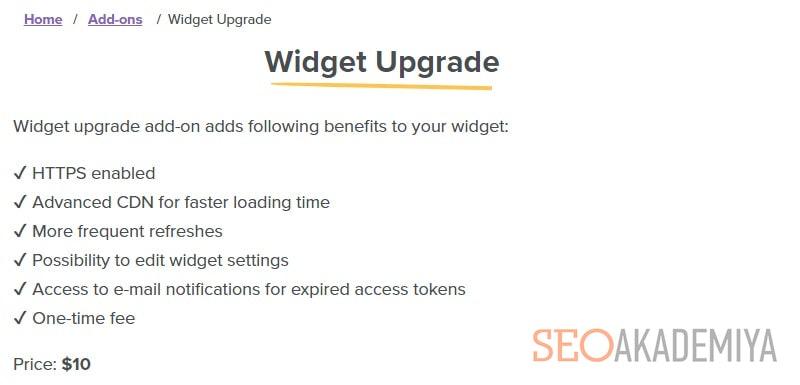 цены LightWidget на создание кнопки инстаграм