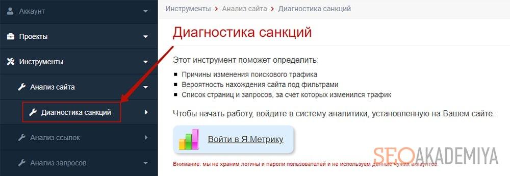 диагностика санкций в сервисе seolib