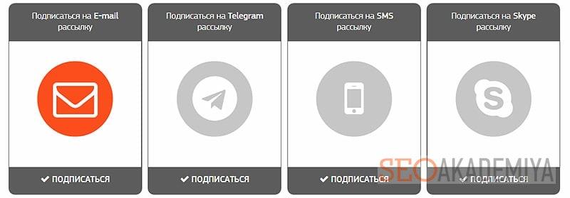 Формы захвата пользователей для подписки