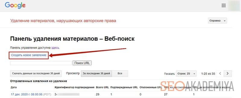 инструмент подачи заявки DMCA в google