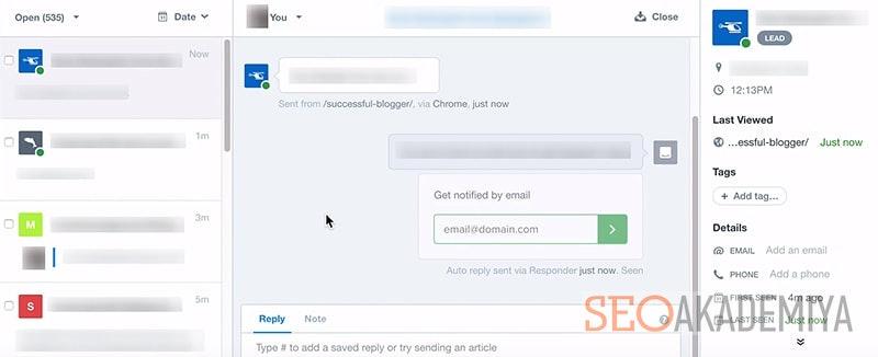 Интерфейс сервиса онлайн консультанта intercom