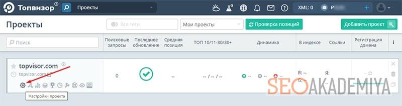 Настройка проекта в Topvisor