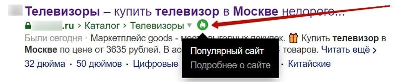 особенные знаки в выдаче яндекса скриншот