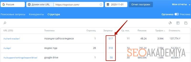 отчет по структуре сайта в топвизор