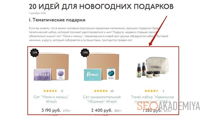 перелинковка в блоге с товарами картинка