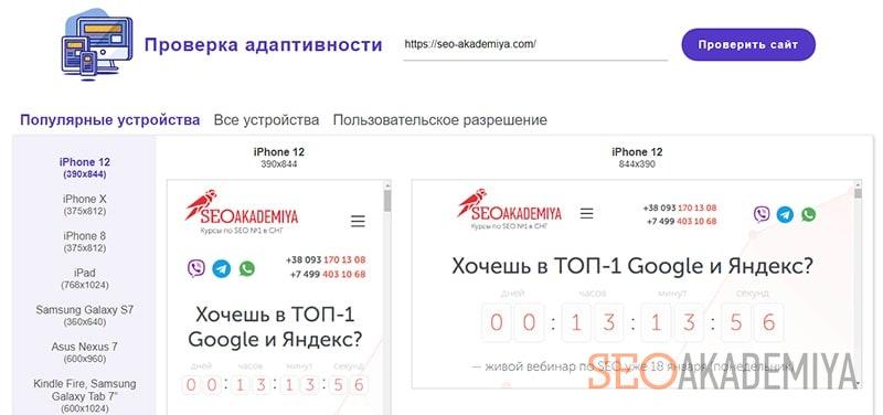 проверка адаптивности сайта в websiteplanet скрин