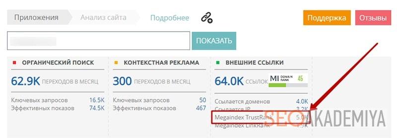 проверка доверия сайта мегаиндекс