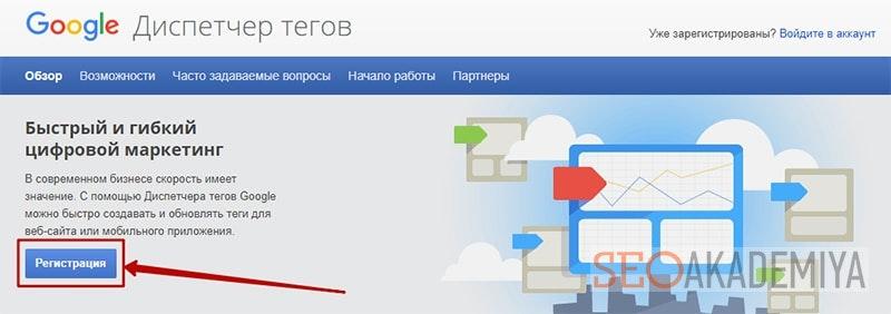 Регистрация в google tag manager картинка