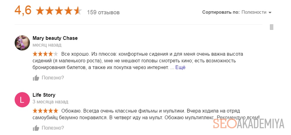 Влияние рейтинга и отзывов на позиции в Google картах