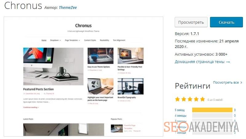 шаблон Chronus для информационного портала