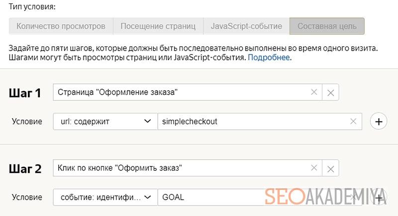Составная цель для интернет-магазина в яндекс метрике