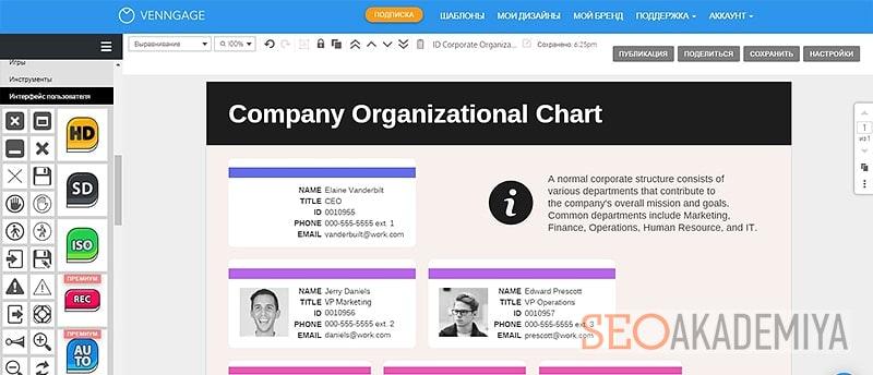 Создание инфографики в сервисе venngage