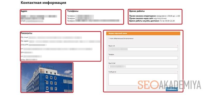 Интернет магазин пример страницы контактов