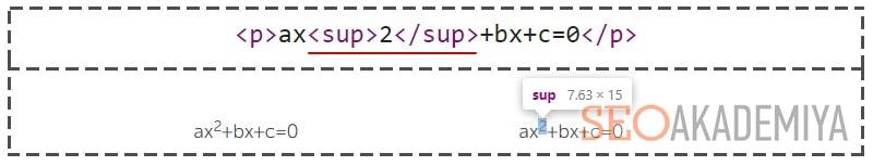 sup для верхнего индекса текста