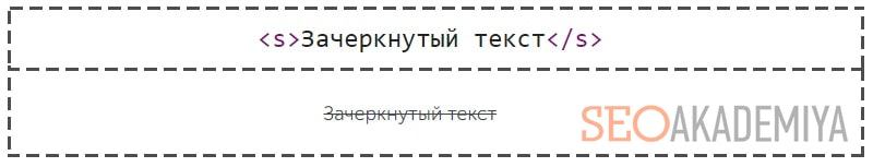 тег s для зачеркивания текста