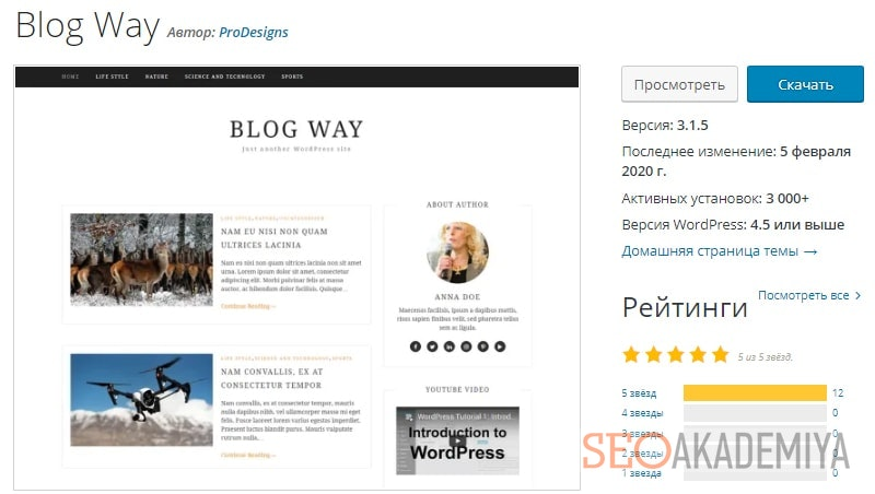 тема Blog Way для информационных сайтов