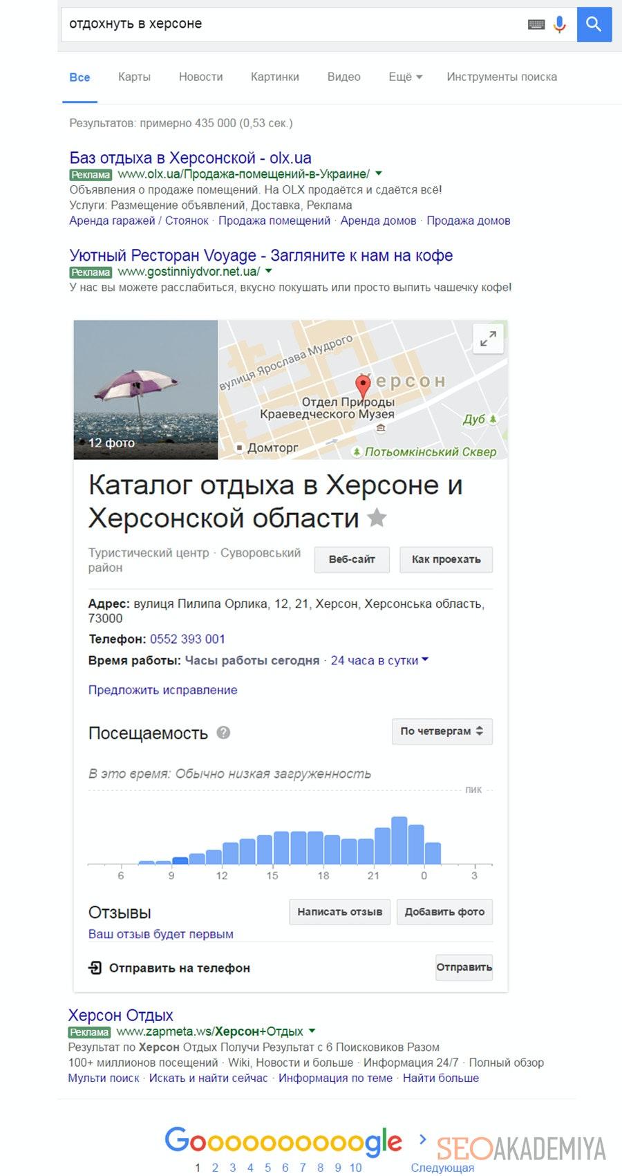 Выдача с результатами карты в Google
